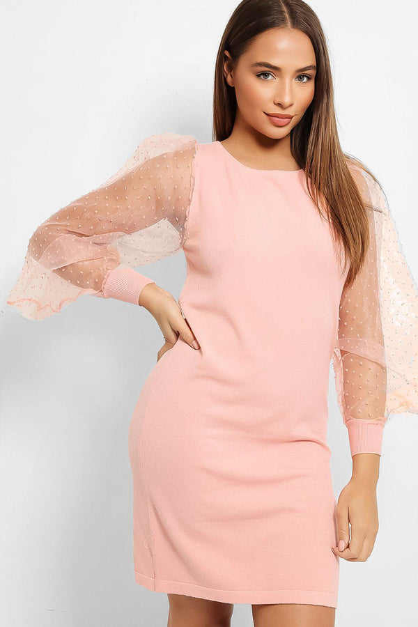 Pink Exaggerated Dobby Mesh Puff Sleeves Dress