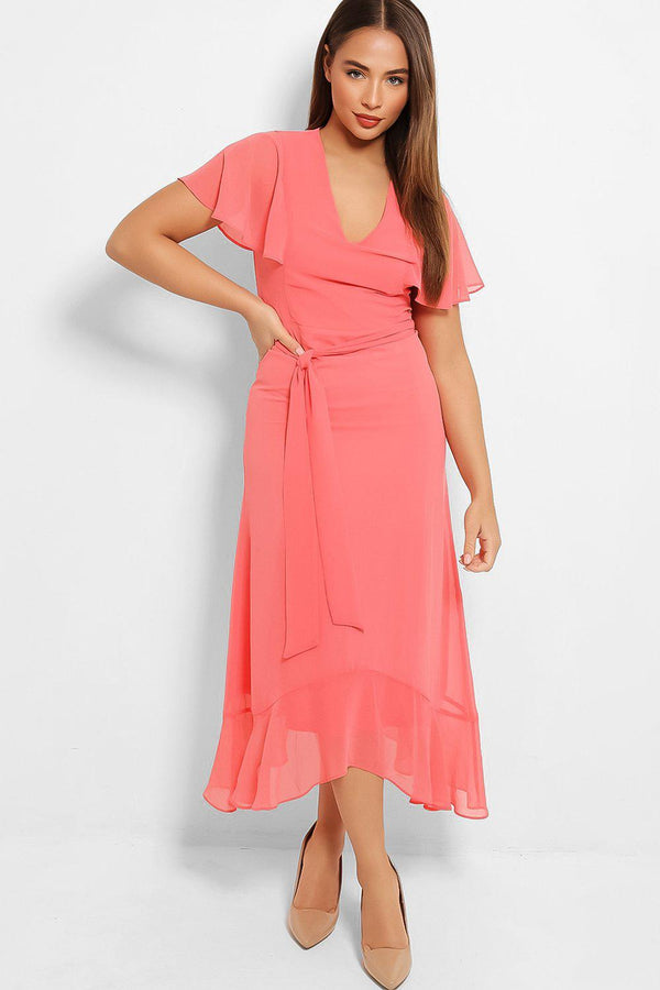 Pink Chiffon Wing Sleeves Maxi Dress