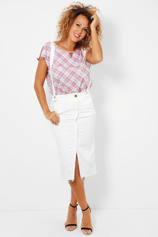 White Front Slit Denim Pinafore Skirt-SinglePrice