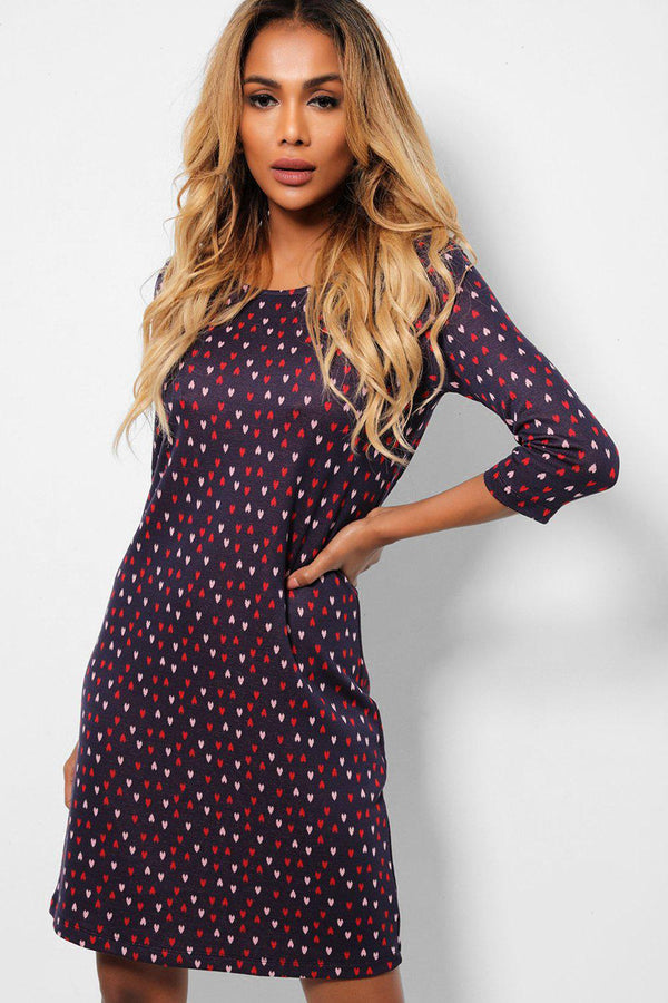 Tiny Hearts Print Navy Midi Shift Dress-SinglePrice