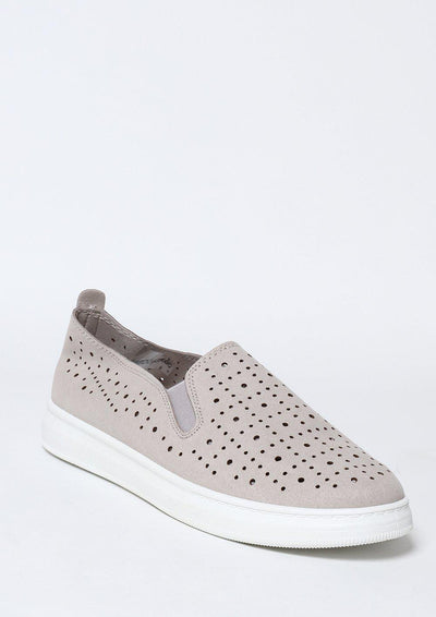 Grey Perforated Slip-On Trainers-SinglePrice