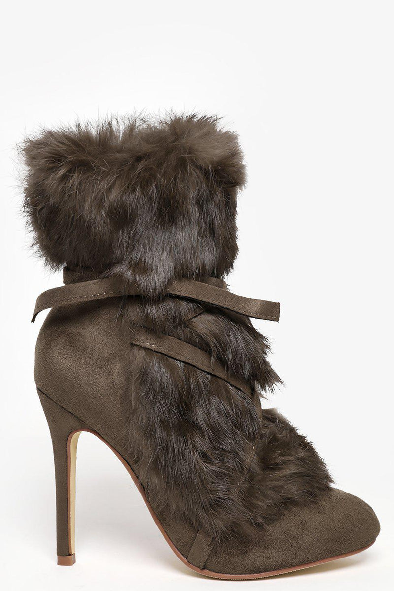 Army Green Faux Fur Laced Up Stiletto Ankle Boots-SinglePrice