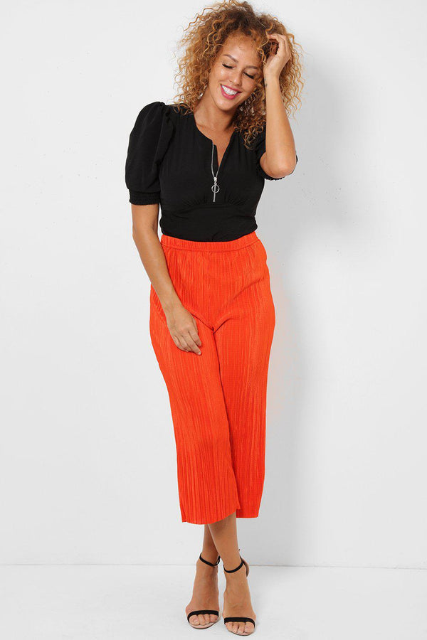 Cropped Bright Orange Pleated Trousers - SinglePrice