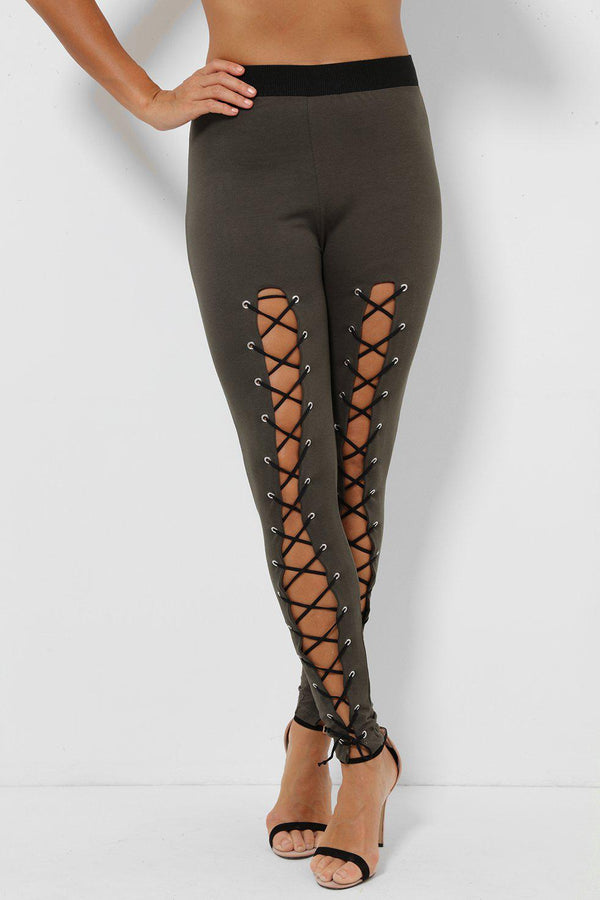 Lace Up Front Khaki Leggings-SinglePrice