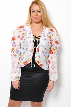 Front Ties Puff Shoulder Sheer White Floral Blouse - SinglePrice