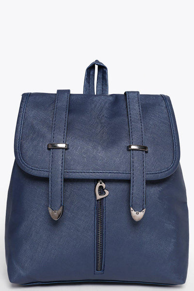 Double Straps Front Zip Navy Backpack