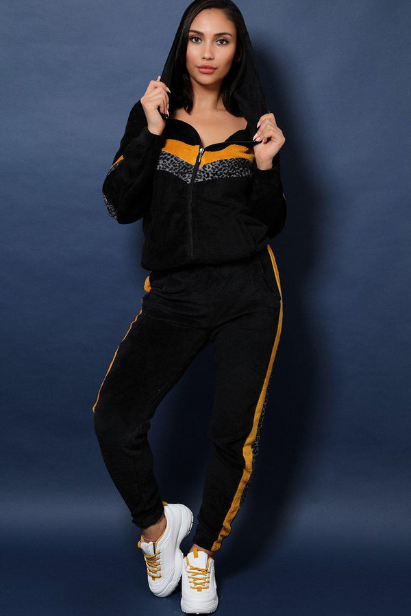 Mustard And Leopard Stripes Fluffy 2 Piece Tracksuit - SinglePrice