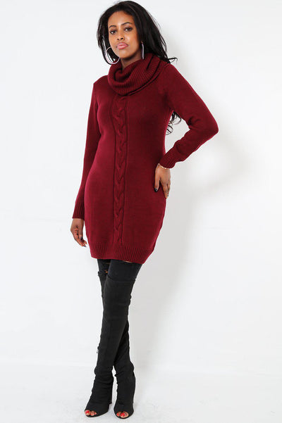 Braid Knit Front Roll Neck Maroon Dress-SinglePrice