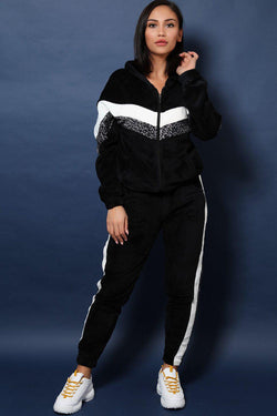 White And Leopard Stripes Fluffy 2 Piece Tracksuit - SinglePrice