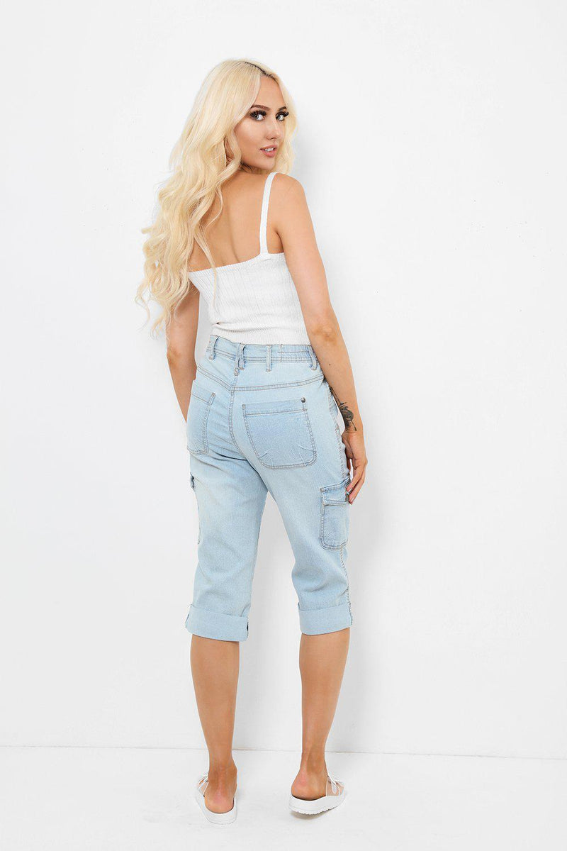 Light Blue Denim Skater Shorts - SinglePrice