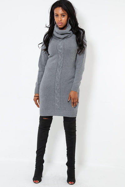 Braid Knit Front Roll Neck Grey Dress-SinglePrice
