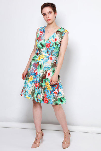 Green Palm Leaves Print V-Neck Wrap Dress-SinglePrice