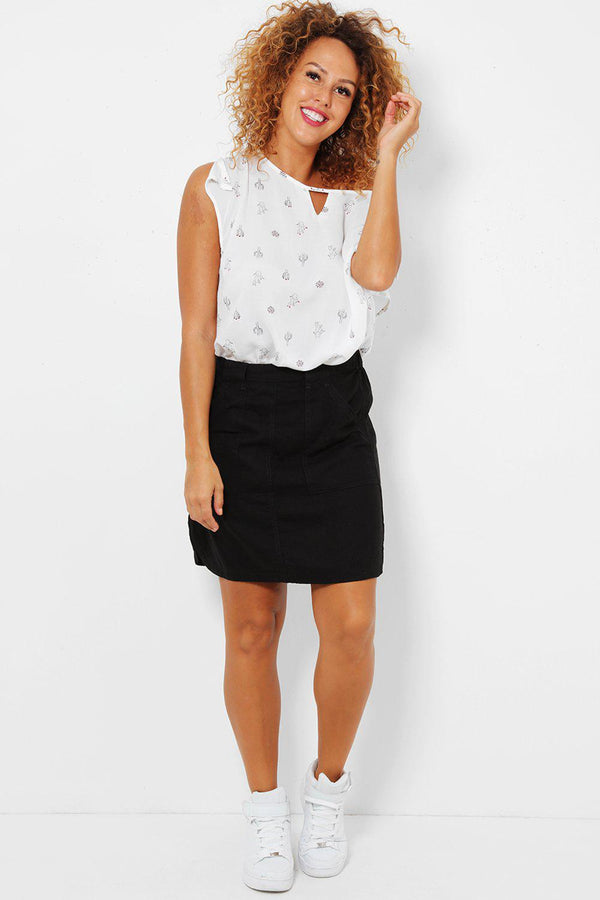 Black Linen Mini Skirt-SinglePrice