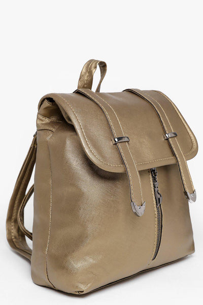 Double Straps Front Zip Gold Backpack