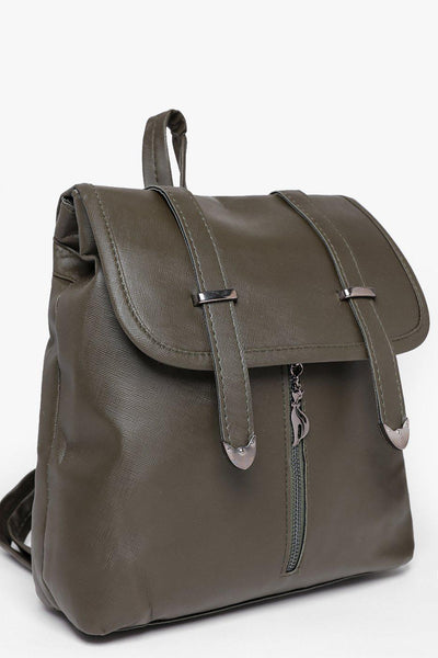 Double Straps Front Zip Green Backpack