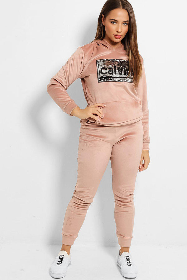 Pink Sequin Slogan Soft Velvet Fleece Lined Tracksuit - SinglePrice