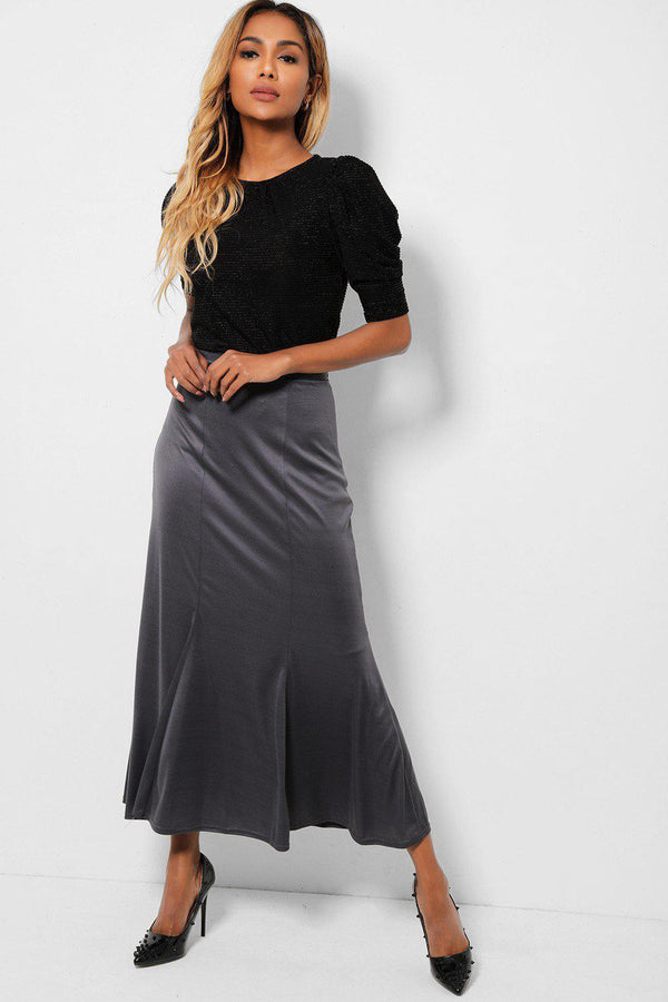 Grey Silk Touch Fishtail Maxi Skirt-SinglePrice