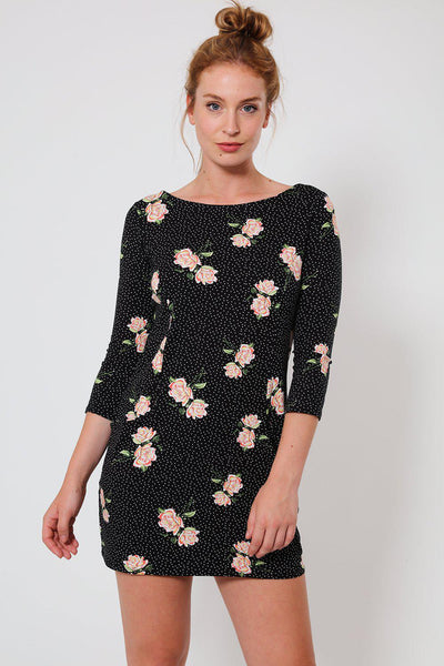 Black Polka Dot Floral Print Mini Dress-SinglePrice