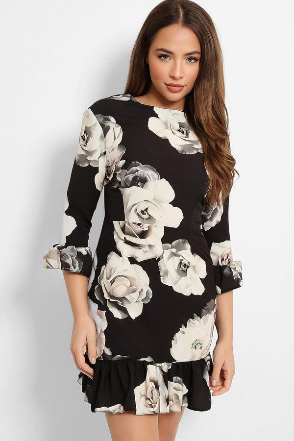Black White Rose Print Frill Hem Mini Dress - SinglePrice