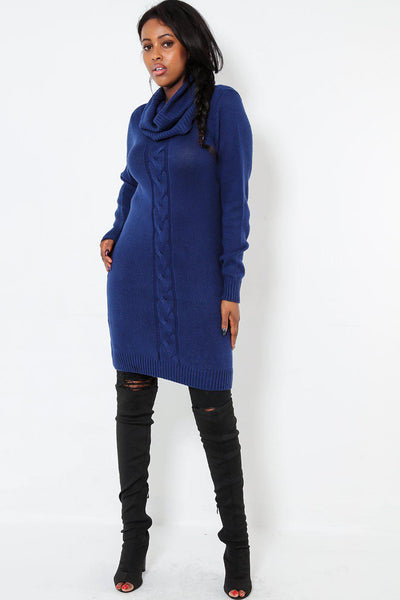 Braid Knit Front Roll Neck Navy Dress-SinglePrice