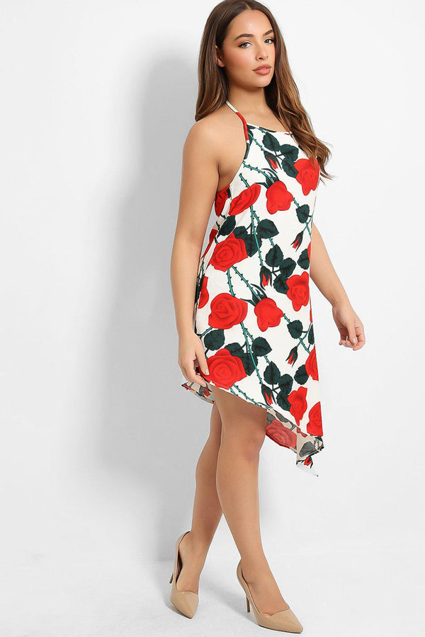 White Halter Neck Red Roses Print Dress - SinglePrice