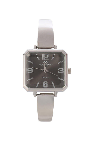 Silver Band Black Square Dial Watch-SinglePrice
