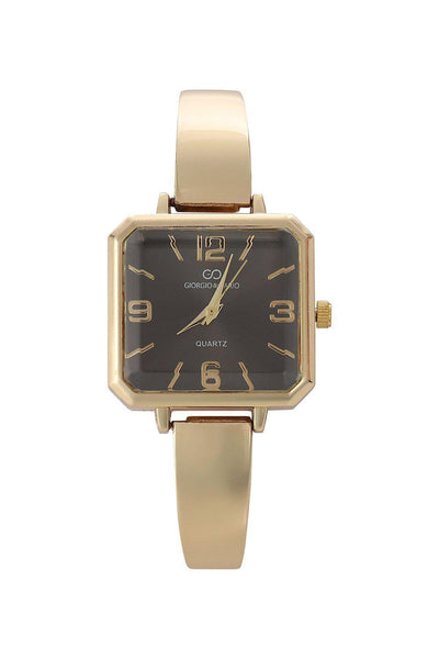 Gold Band Black Square Dial Watch-SinglePrice