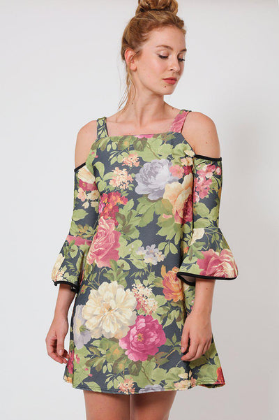 Green Floral Cold Shoulder Dress-SinglePrice