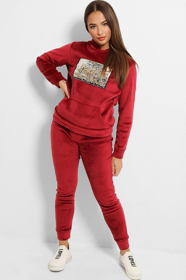 Wine Velour Thick Fleece Lined Sequinned J'adore Tracksuit - SinglePrice