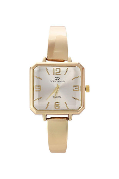 Gold Band Silver Square Dial Watch-SinglePrice