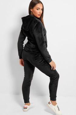 Black Velour Thick Fleece Lined Sequinned J'adore Tracksuit - SinglePrice