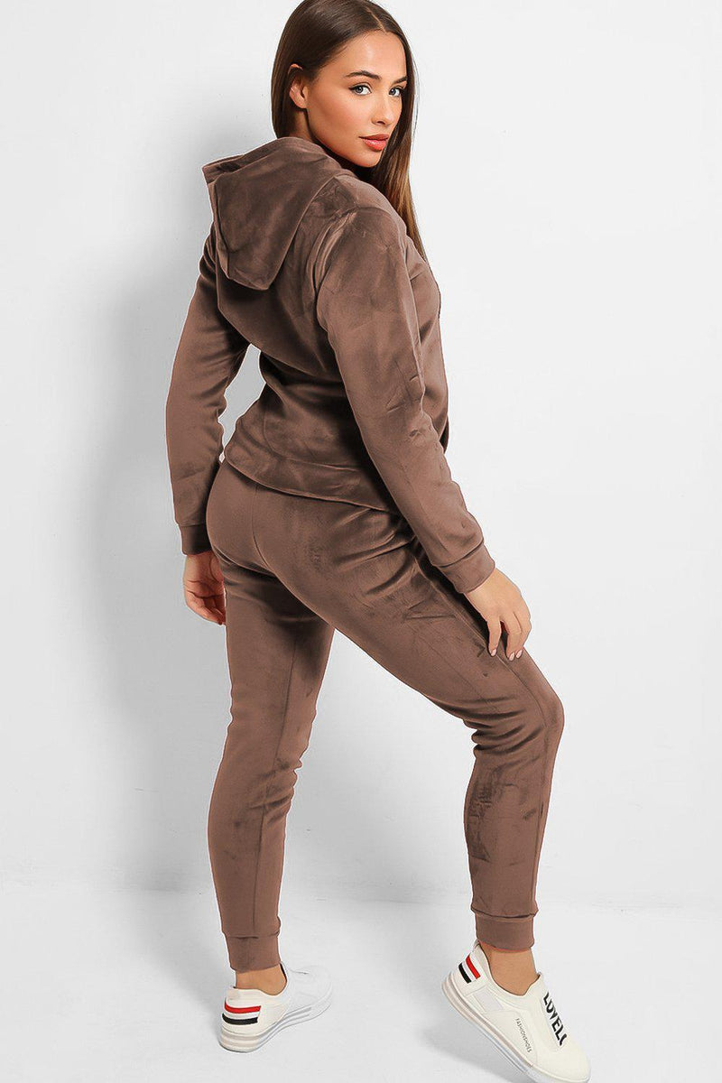 Brown Velour Thick Fleece Lined Sequinned J'adore Tracksuit - SinglePrice