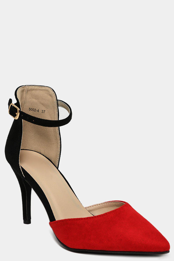 Two Tone Black Red Vegan Suede Stiletto Heels - SinglePrice