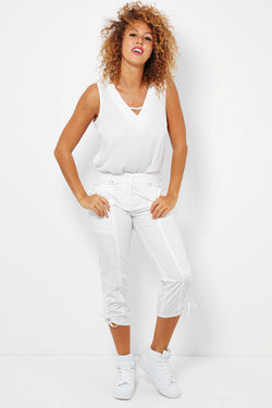 White Ruched Hem Cropped Cargo Trousers - SinglePrice