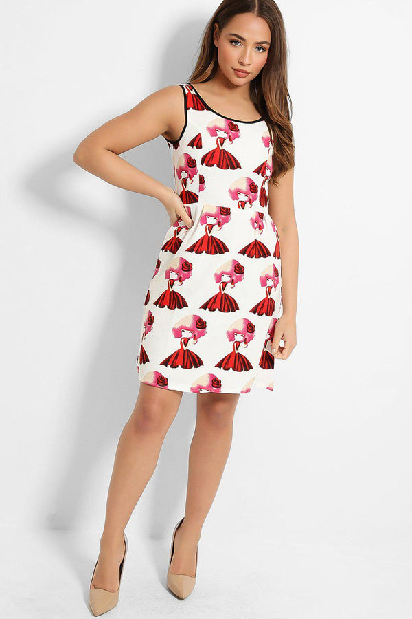 White Red Girl Print Mini Skater Dress - SinglePrice