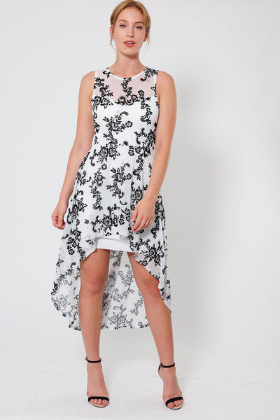 Black Floral Emboss White Low High Dress-SinglePrice