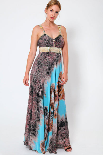 Gold Buckle Straps and Belt Blue Chiffon Maxi Dress-SinglePrice