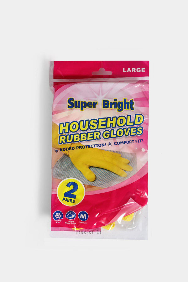 Super Bright 2 Pairs Rubber Gloves In Large - SinglePrice