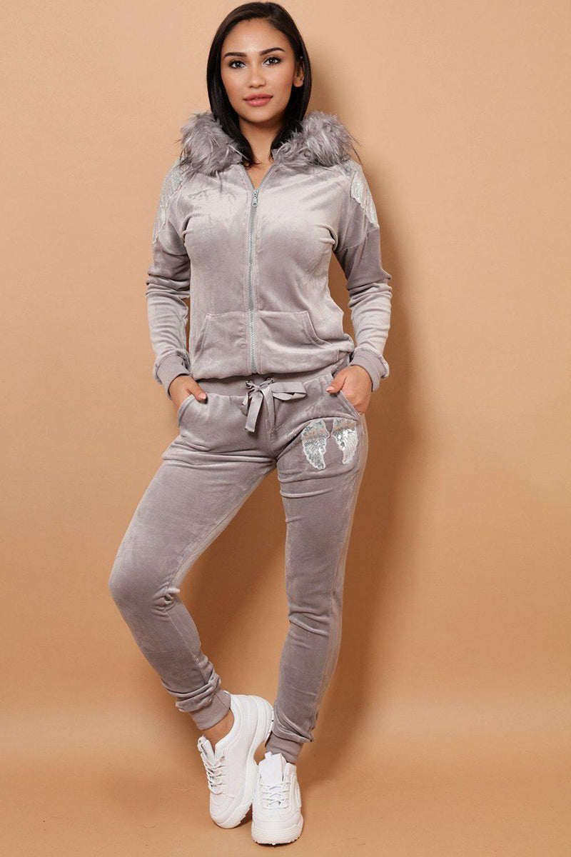 Sequin Wings Embellished Faux Fur Hood Velvet Grey 2 Piece Tracksuit - SinglePrice