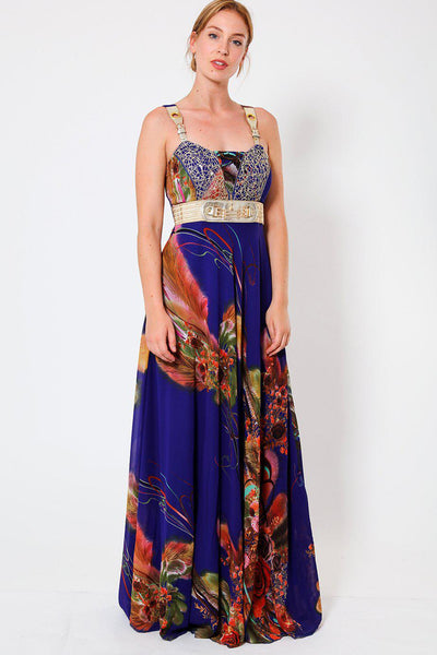Blue Sequin Mesh Chiffon Maxi Dress-SinglePrice