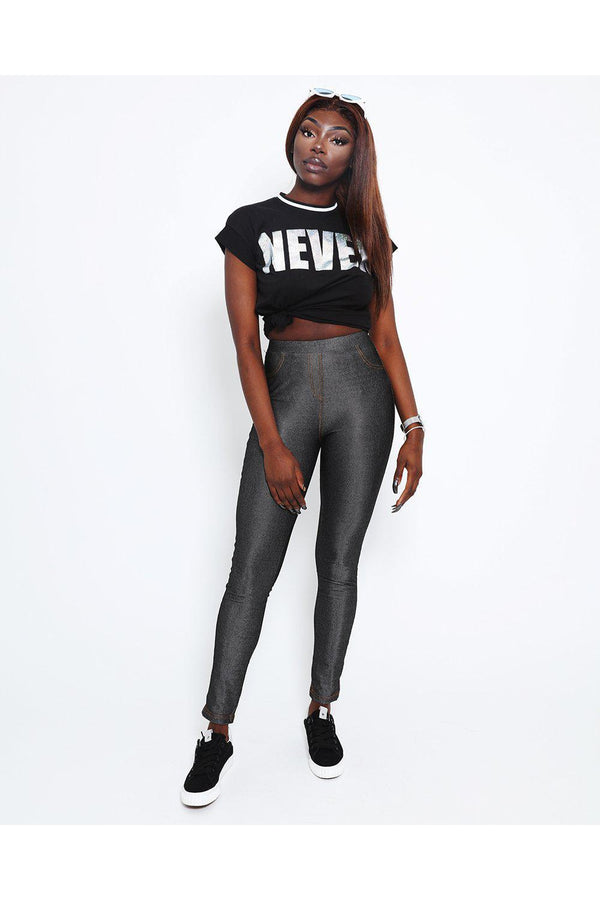 Metallic Finish Black Jeggings-SinglePrice