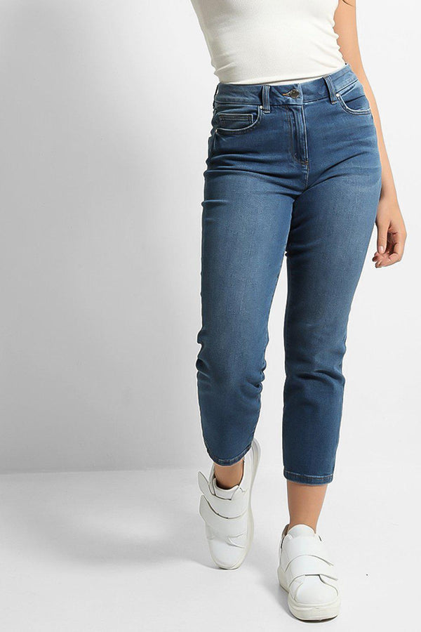 Blue High Rise Ankle Denim Jeans - SinglePrice