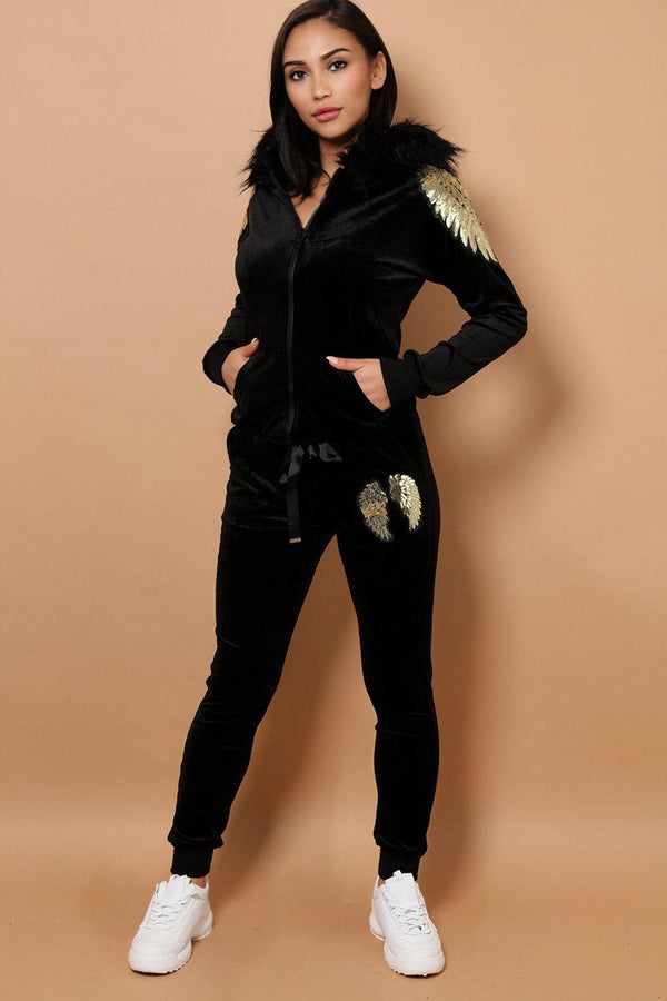 Sequin Wings Embellished Faux Fur Hood Velvet Black 2 Piece Tracksuit-SinglePrice