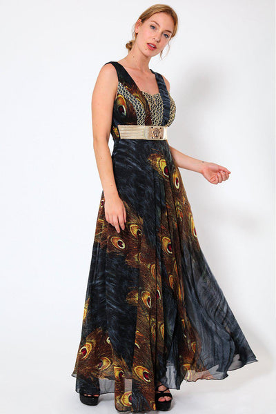Gold Mesh Details Black Peacock Print Maxi Dress-SinglePrice