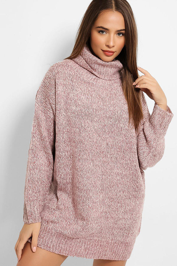 Pink Lurex Stripe Rib Knit Turtleneck Longline Jumper