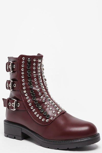 Buckle Details Studded Front Wine Boots-SinglePrice