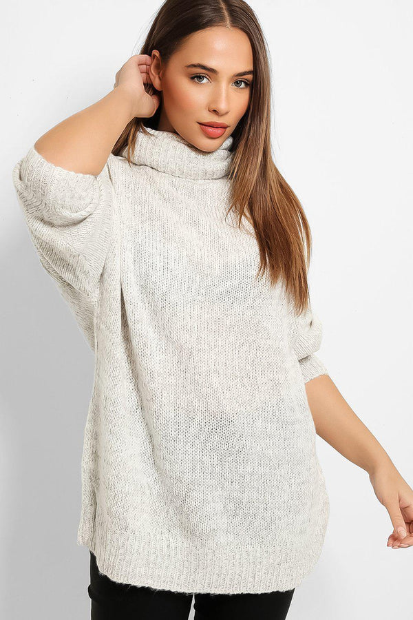 Beige Lurex Stripe Rib Knit Turtleneck Longline Jumper
