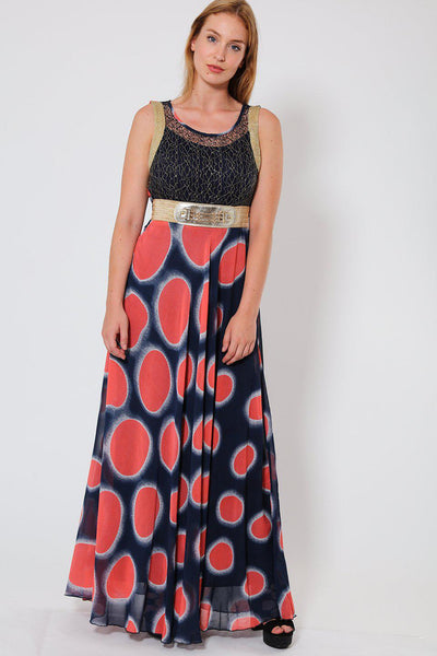 Coral Dotted Print Maxi Dress-SinglePrice