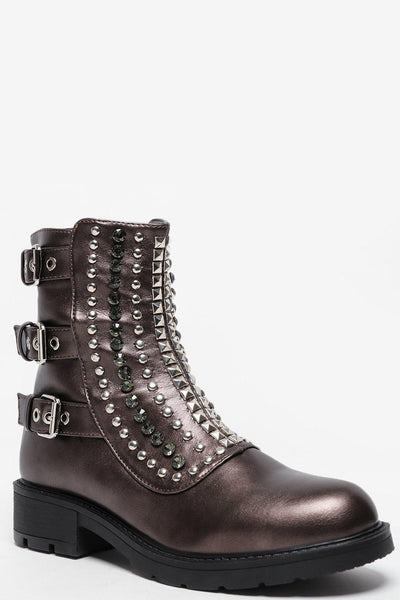 Buckle Details Studded Front Bronze Boots-SinglePrice