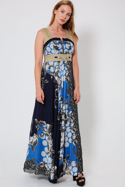 Blue Zipped Front Gold Mesh Chiffon Maxi Dress-SinglePrice